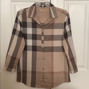 Burberry Brit plaid long sleeve cotton shirt